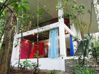 Photo of the open bungalow for holidays in green rainforest