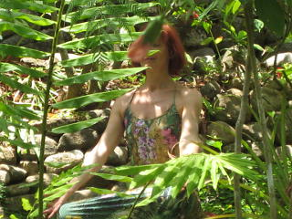 Photo of a person in meditation in the rainforest