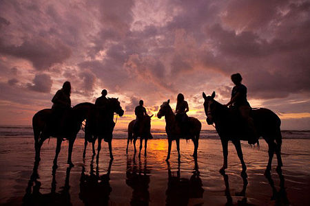 Photo of riders on the beach at sunset after a guided tour